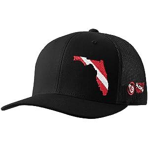 3bb4ccc77d8 Born of Water Florida Scuba Diver Down Flag Trucker Hat Black