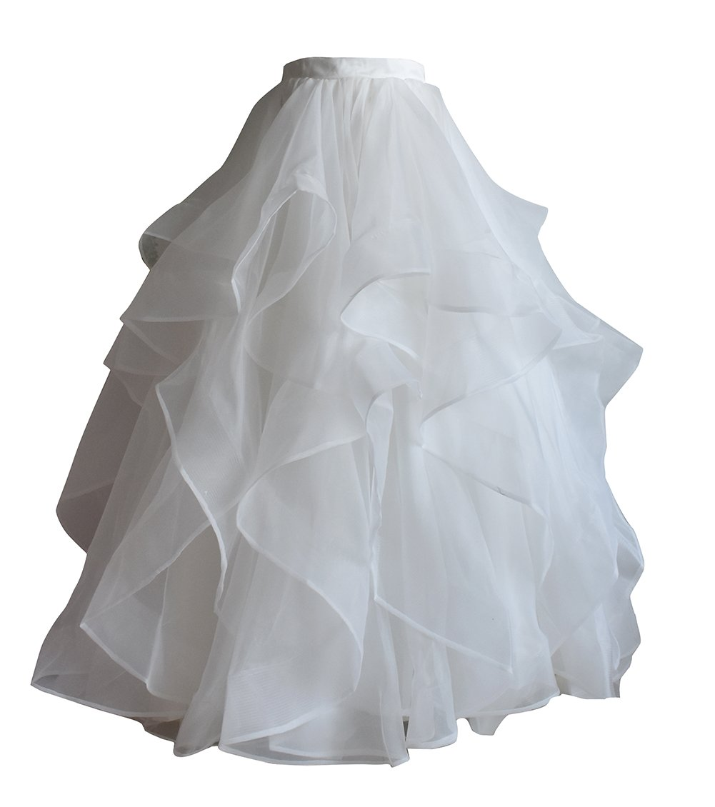 flowerry Tiered Ruffle Organza Skirt Wedding Bridal Train Skirt Custom Color (XL, Ivory)