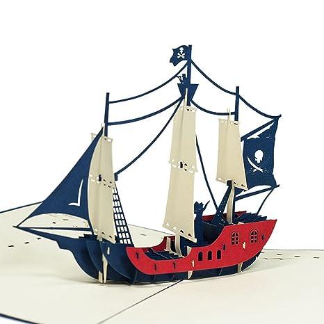 Favour Pop Up – Tarjeta de – Barco pirata. Diseño elegante, funciona mano y