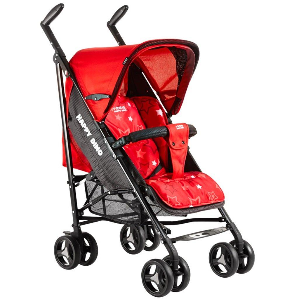HAIZHEN マウンテンバイク ベビーカートは座る/軽い夏Foldable調節可能な日除けの日よけの衝撃吸収EVAの泡のタイヤベビーキャリッジ52 * 78 * 109cmを横たえることができる 新生児 B07DL6PTTJ 赤 赤