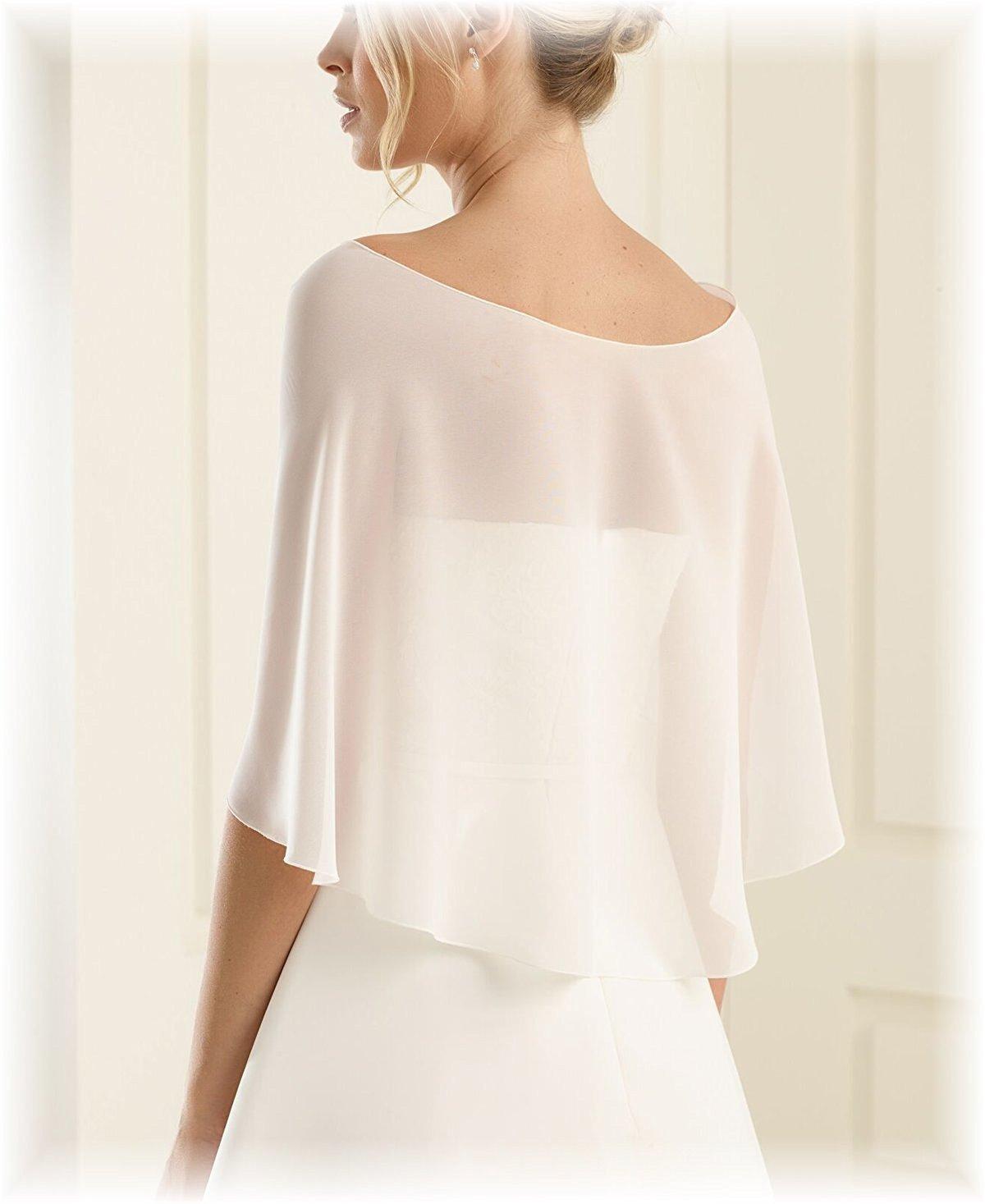 Hot Dresses Chiffon Bridal Evening Scarves Wraps Shawls for Bridesmaid Prom Wedding (Ivory)