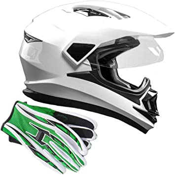 Amazon Com Dual Sport Helmet Combo W Gloves Off Road Motocross Utv Atv Motorcycle Enduro Gloss White Green Xxl Automotive
