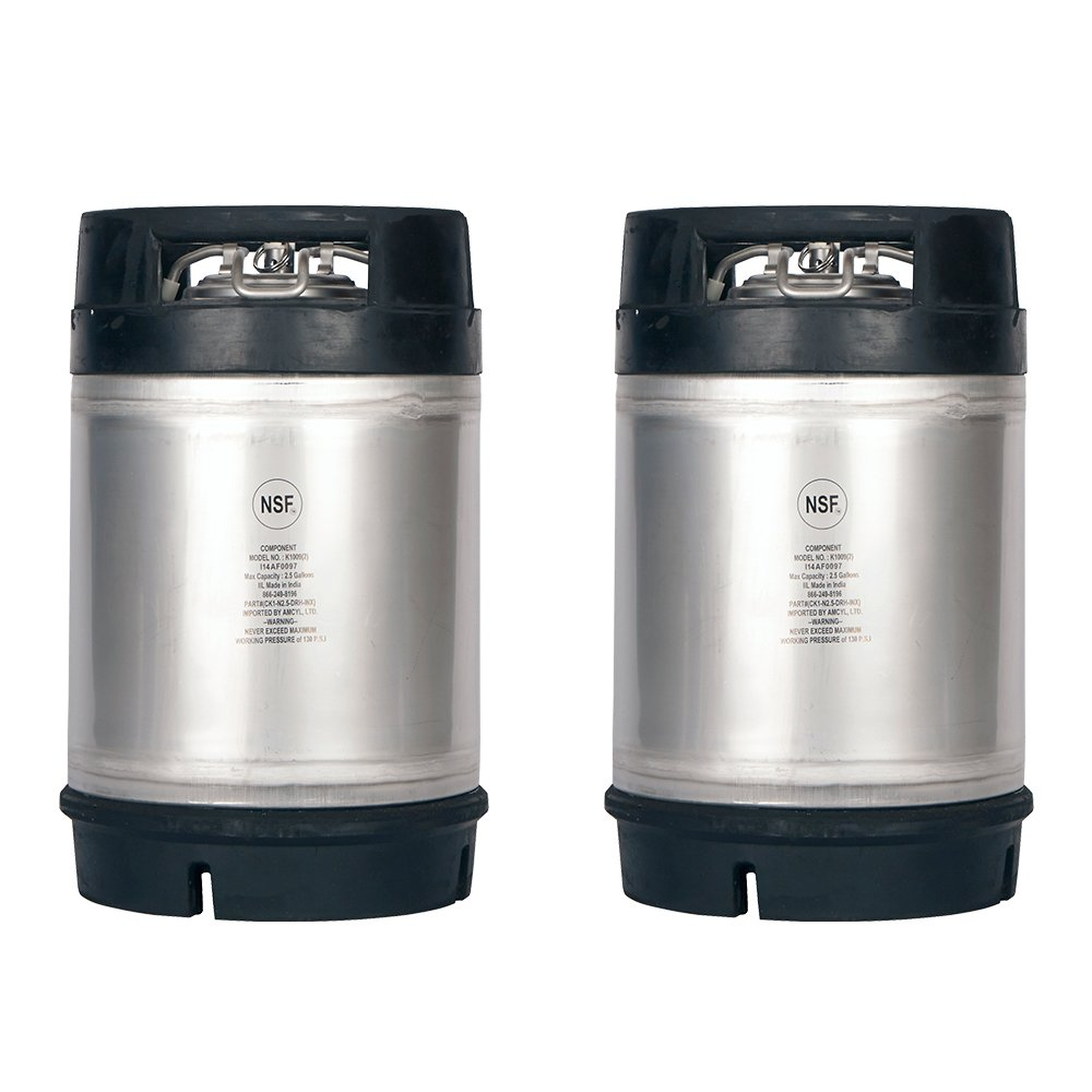 Two New 2.5 Gallon Ball Lock Kegs - Dual Rubber Handles + Free O-Ring Kit