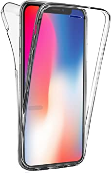 Buyus Coque Gel iPhone X, Coque 360 Degres Protection Integral Anti Choc, Etui Ultra Mince Transparent Invisible pour iPhone X, Coque iPhone X