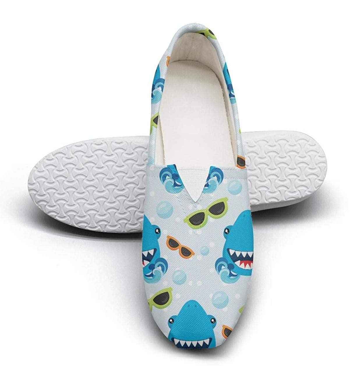 Navy cartoon shark pattern Classic Slip-ONS Women's Comfort Flat Boat Shoes Ladies Espadrille Flats