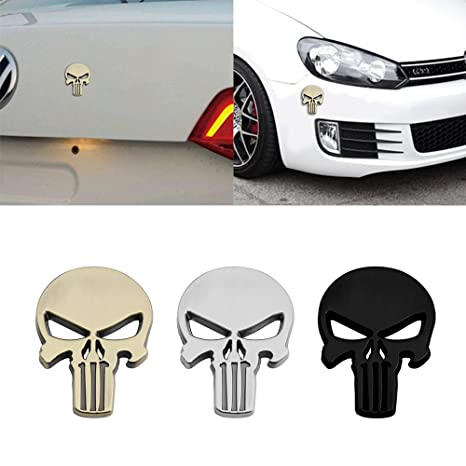 The Punisher Skull Car Motorcycle Waterproof 3D Metal Emblem Badge Decal Sticker