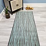 #5: Your Choice Length Grey & Blue Stripes Non-Slip Rubber Backed Carpet Runner Rug | 22-inch x 6-feet
