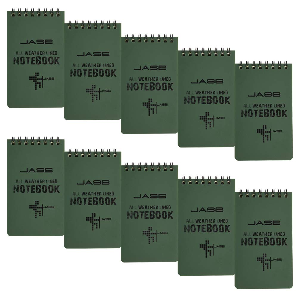 CUGBO 10 Pack Waterproof Notebook, All-Weather Pocket Sized Tactical Notepad, Top Spiral Memo Grid Paper Notepad for Outdoor Activities Recording(Army Green,3.2''x5.5'') by CUGBO