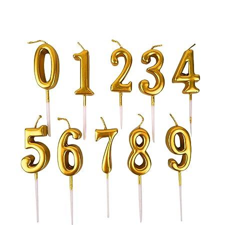 TOYANDONA - Lote de 10 Velas con números de cumpleaños, para ...