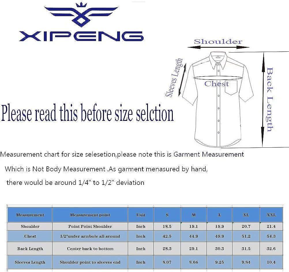 XI PENG Camisa hawaiana de manga corta con botones de algodón ...