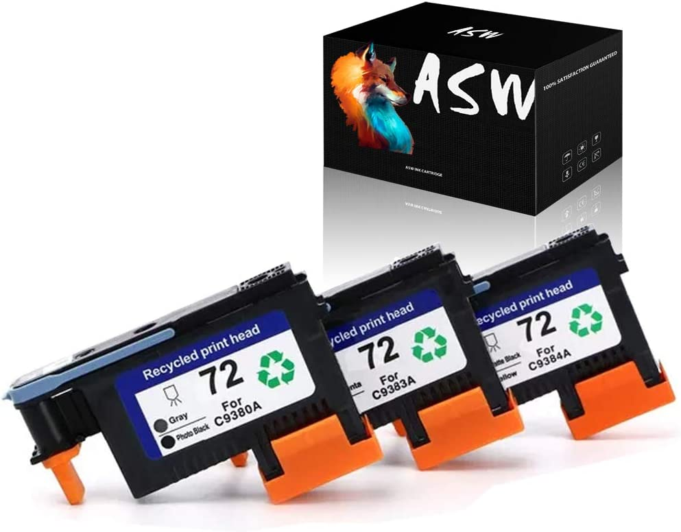 ASW Remanufactured HP72 HP 72 Printhead C9380A C9383A C9384A Used for HP Designjet T610 T620 T770 T790 T1100 T1120 T1200 T1300 T2300 (3 Pack)