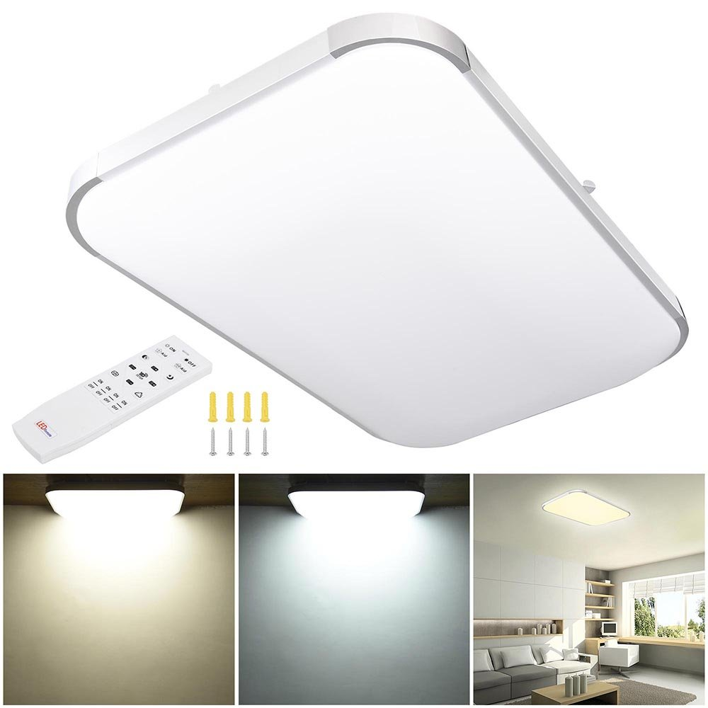 YesHom Dimmable LED 48W Aluminum Flush Mount Ceiling Light Rectangle 25.6''x17'' w/Remote Control 3000k-6500k 6240lm 110V