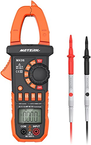 Meterk Digital Clamp Meter Multimeter 4000 Counts Auto-ranging Multimeter AC DC Voltage Current Tester with Resistance, Capacitance, Frequency, Diode, Hz Test, Non-contact Voltage Detect