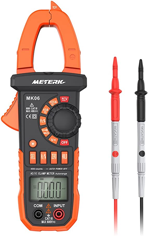 Meterk Digital Clamp Meter Multimeter 4000 Counts Auto-ranging Multimeter AC/DC Voltage&Current Tester with Resistance