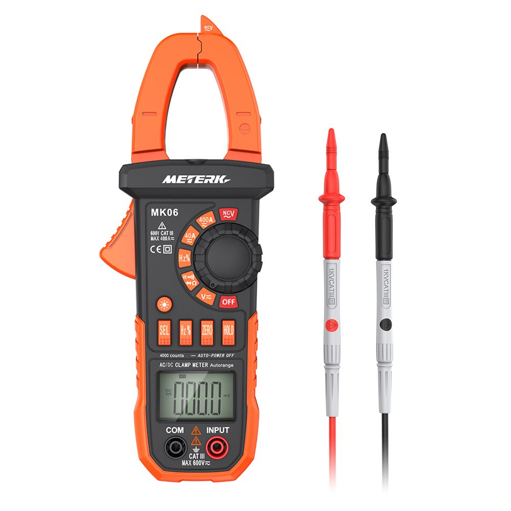 Meterk Digital Clamp Meter 4000 Counts Auto-ranging Multimeter with AC/DC Voltage&Current, Resistance, Capacitance, Frequency, Diode, Hz Test, Non-contact Voltage Detect
