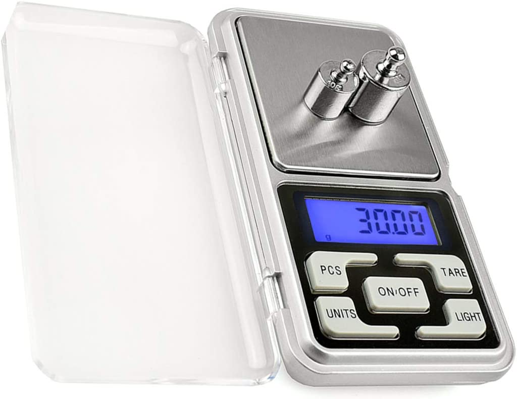 Mengshen Digital Pocket Jewelry Scale High Precision Milligram Scale Steelyard 1.1lb/500g (0.01g) Reloading for Jewelry and Gems Small Electronic Scale