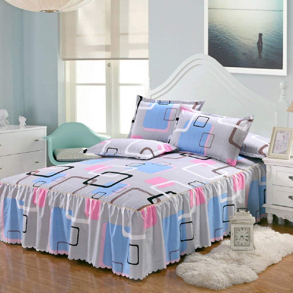 Spannbetttuch mit Volant - rutschfeste, nichtfusselnde Tagesdecke, Twill, Romantischer Blumendruck, Polyester-Baumwolle, beige, 150 * 200 * 43cm/ 59 * 78.74 * 17''