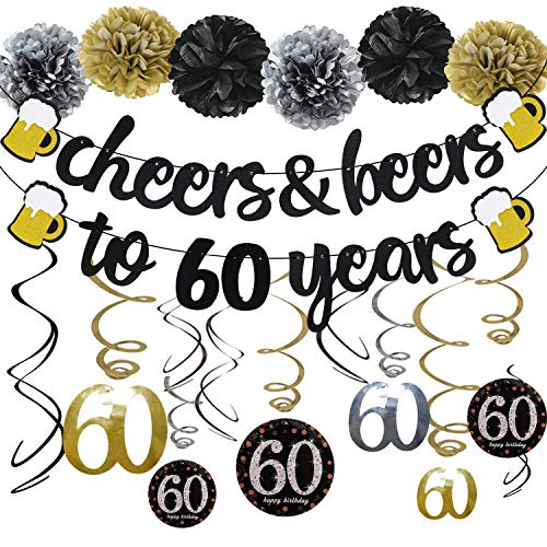 Sixty Birthday Decorations (60th Birthday Party Decorations Kit Cheers & Beers to 60 Years Banner 6 Pom Poms 12-Pack Sparkling 60 Hanging Swirl for 60th Anniversary Decorations 60 Years Old Party)