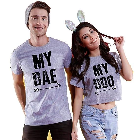e660a3ce4d Bon Organik My Boo, My BAE, Matching Couples Printed Cotton T-Shirt and