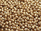 100 Pcs Czech Fire-polished Faceted Glass Beads Round 4mm Aztec Gold (Crystal Bronze Pale Gold)