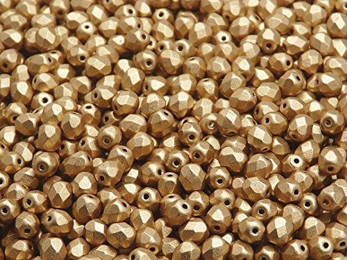 100 Pcs Czech Fire-polished Faceted Glass Beads Round 4mm Aztec Gold (Crystal Bronze Pale (Faceted Bead Garland)