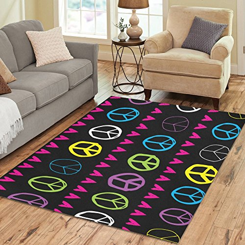 Gogogosky Custom Peace Sign And Hearts Area Rug Floor Rug Room Carpet 7'x5'