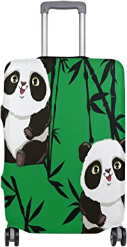 Panda With Bamboo Green Travel Suitcase Protector Zipper Suitcase Cover Elastic