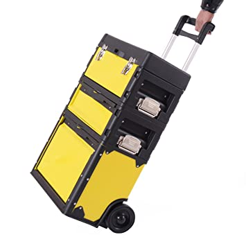 Goplus 3 In 1 Rolling Stacking Portable Tool Box Chest, Metal Trolley Portable  Tool Chest