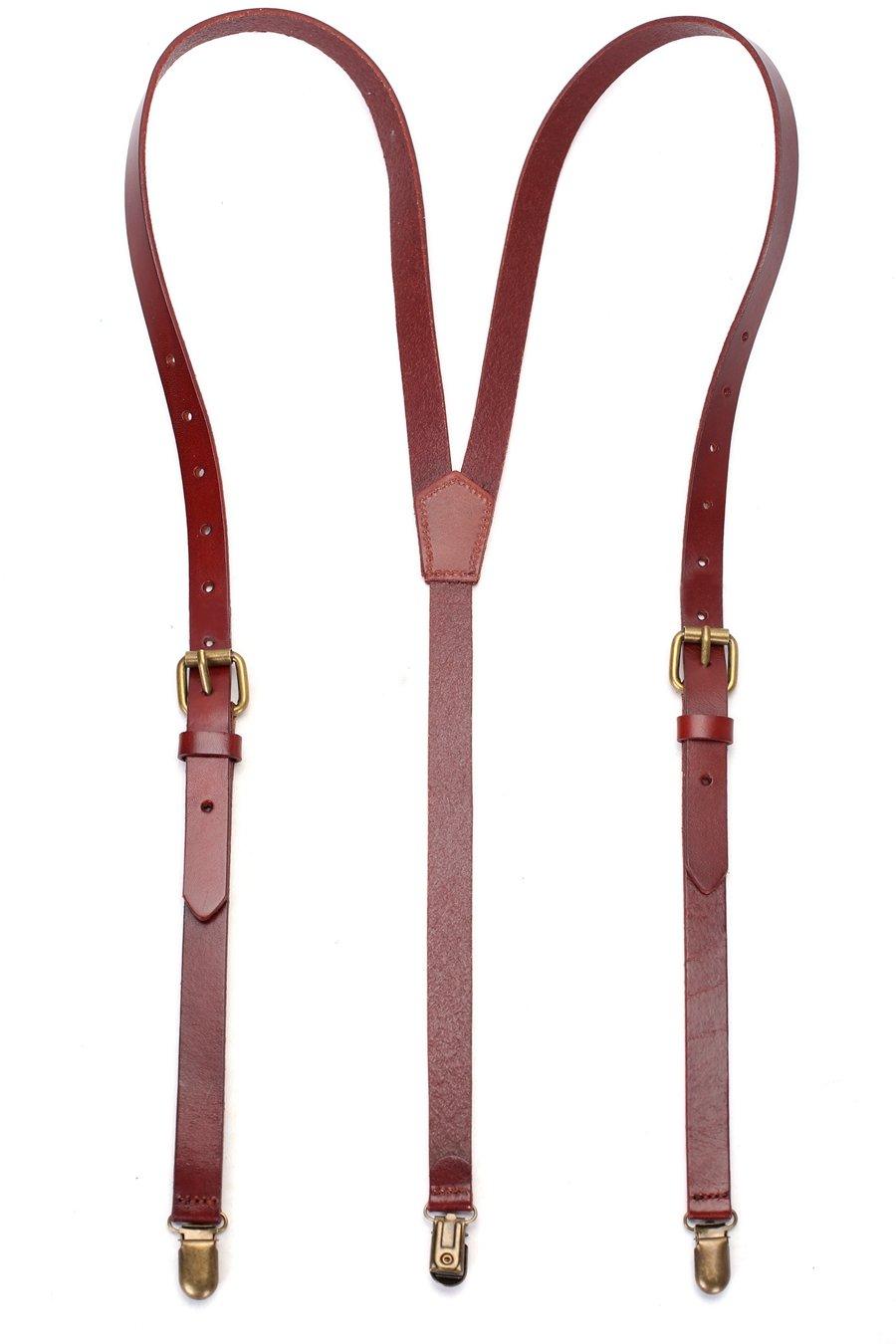 ROCKCOW Leather Suspenders Wedding Suspenders 100% Handcrafted - Sevilla Standard Brown Vintage