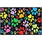 60'' X 80'' Blanket Comfort Warmth Soft Plush Throw for Couch Colorful Dog Paw Prints