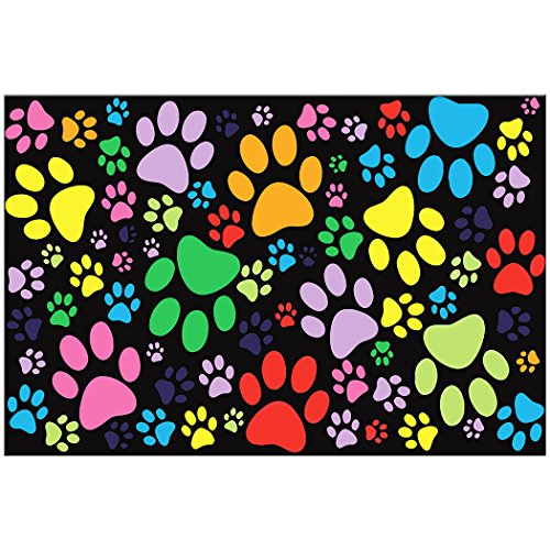 60'' X 80'' Blanket Comfort Warmth Soft Plush Throw for Couch Colorful Dog Paw Prints by YISUMEI