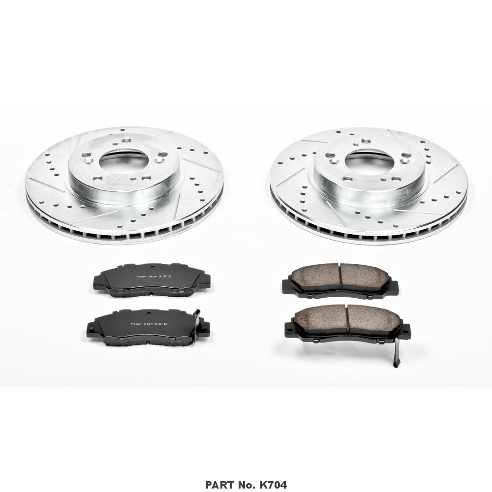 Power Stop K704 Front Z23 Evolution Brake Kit with Drilled//Slotted Rotors and Ceramic Brake Pads