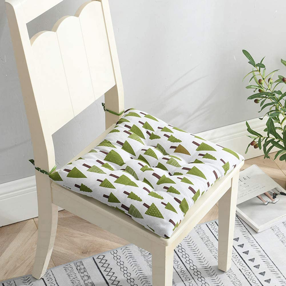 Set of 4 or 2 Chair Pads 45x45 cm Cotton Linen Seat Cushions with Ties Dining Chair Cushions for Kitchen Living Room Patio Garden Indoor Outdoor Chair Pads,1,2Pcs