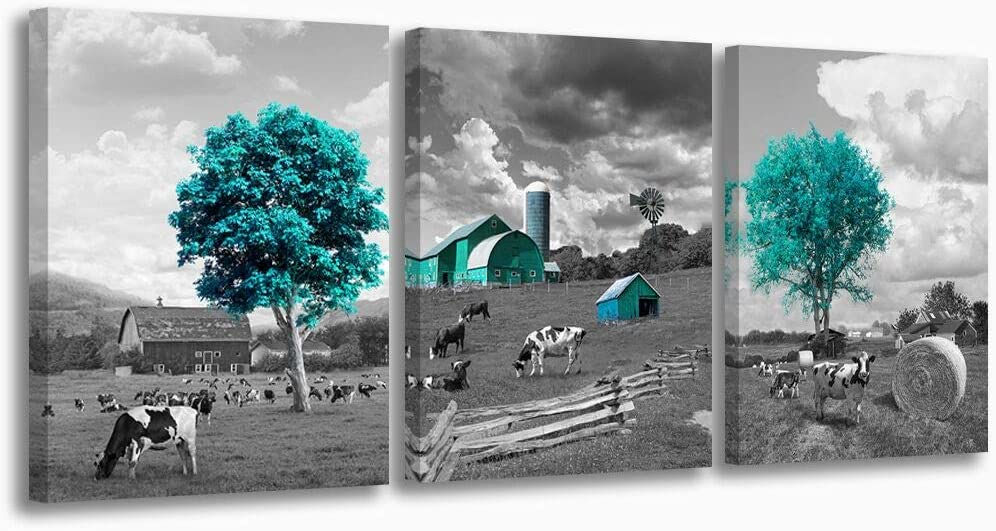 Black and White Cow Farmhouse Canvas Wall Art Teal Barn Trees Country Wall Decor for Bedroom Stretched and Framed Rustic Wall Decorations Size 12x16 inches Each Panels