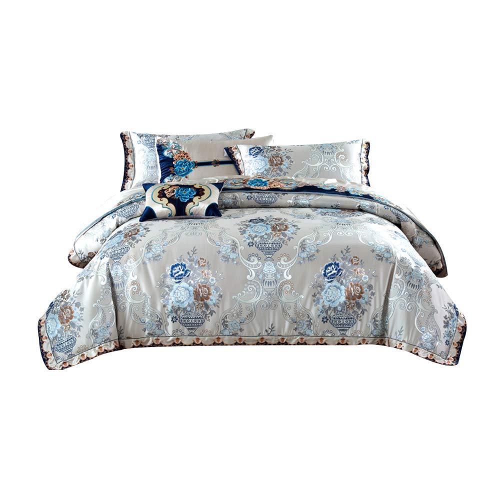 寝具高級刺繍ジャカードロングステープルコットンサテン4ピースベッドリネンキルトカバー枕カバーホームテキスタイル抗シワ耐久性 B07SSN8QKD