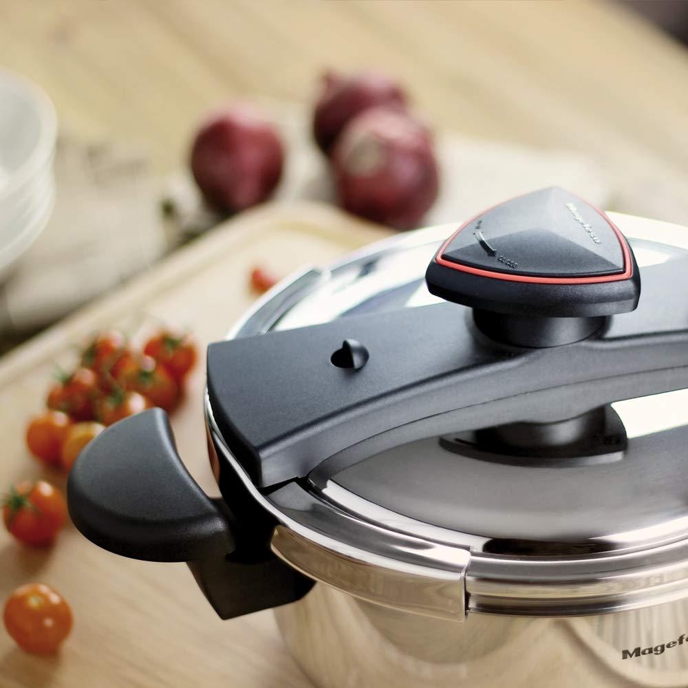 inducci/ón total.5 sistemas de seguridad apta para todo tipo de cocinas acero inoxidable 18//10 6L fondo termo difusor IMPACT BONDED BOTTOM. MAGEFESA ASTRA Olla a presi/ón super r/ápida de f/ácil uso