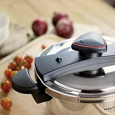 MAGEFESA ASTRA Olla a presión super rápida de fácil uso, acero inoxidable 18/10, apta para todo tipo de cocinas, inducción total.5 sistemas de ...