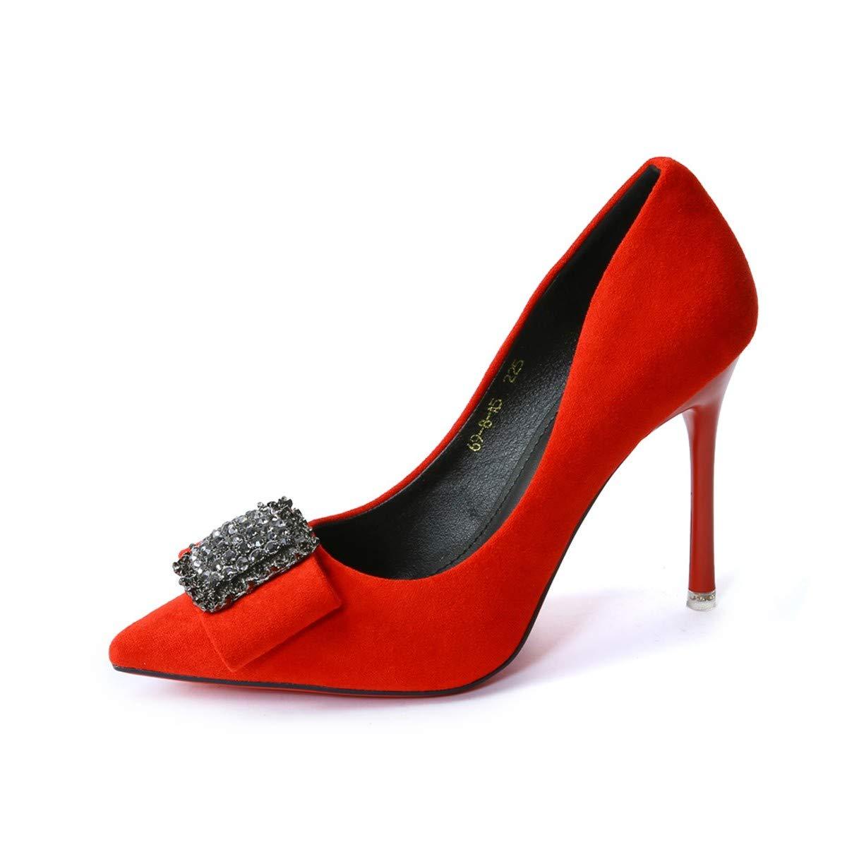 LBTSQ-Schöne Schuhe High Heels 10Cm Hochzeit Schuhe Wildleder Spitze Metall Schnallen Spitze Wildleder Einzelne Schuhe Wasserdicht Temperament ec3be3