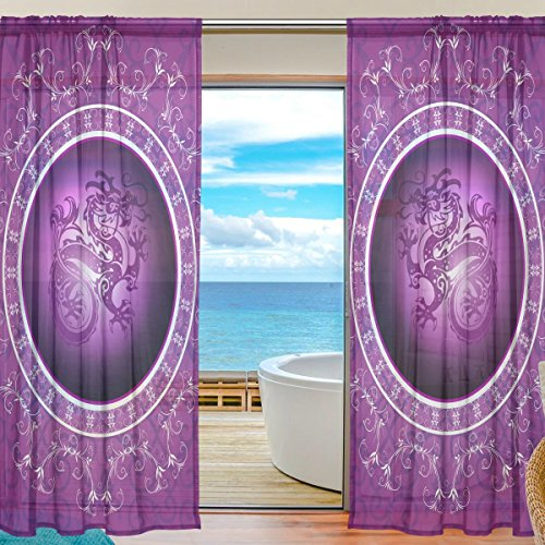 Phoenix Waterproof Jacket (Chinese Dragon Window Sheer Curtain Panels, 2 PCS 55x78 inch, Gauze Curtain for Living Room Bedroom Home Decor)