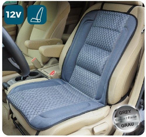 ObboMed SH-4170 12V 45W Deluxe Heated Seat Cushion Cover with Lumbar Support, with Premium Cigarette Lighter Plug and Special Fitting (Vertical or Horizontal) for Car (Gray with Light Gray Pattern) (Backrest Pattern)