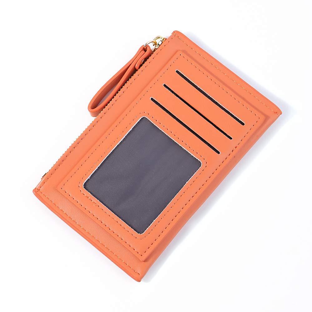 Faleela Womens Slim Credit Card Holder Mini Front Pocket Wallet Coin Purse ID Window With Tassel