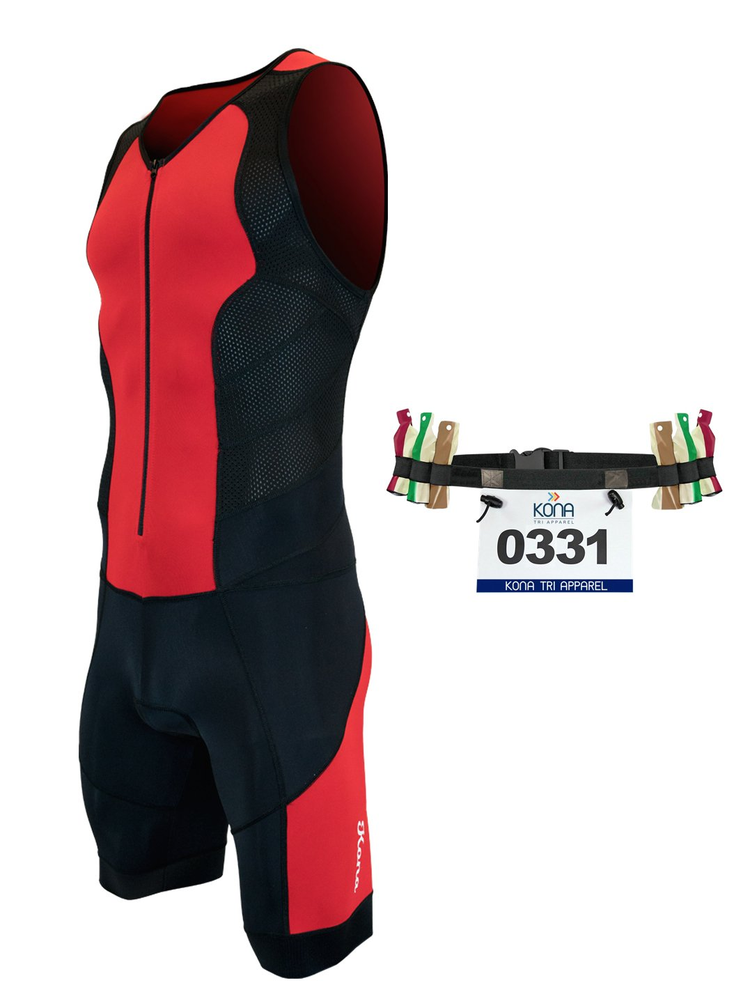 Kona II Men's Triathlon Suit - Sleeveless Speedsuit Skinsuit Trisuit with Storage Pocket and Bonus Race Bib Belt (Red/Black, Small)