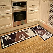Seamersey Home and Kitchen Rugs Peony Pattern 4 Size 2 Pieces Decorative Non-Slip Rubber Backing Doormat Runner Area Mats Sets