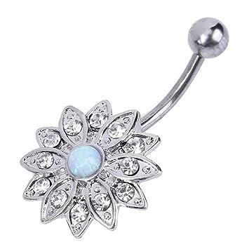 Image Unavailable. (OP16) - Jocestyle Woman Elegant Natural Body Piercing  Jewellery Opal Crystal Flower Button Navel f3e9de51534d