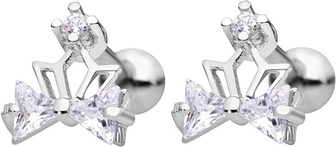 S925 Silver Claasic Heart Shpae Stones Stud Earrings Surrounded by White CZ for Lady Anazoz Womens Earrings