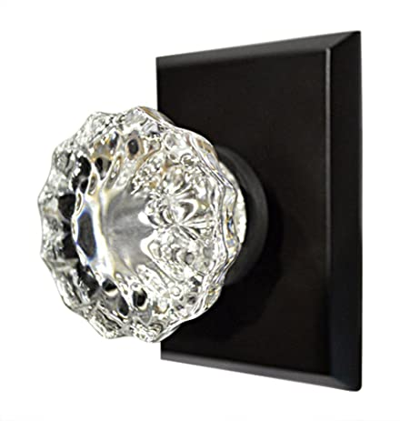 Regency Fluted Glass Door Knob with Square Rosette in Oil Rubbed ...