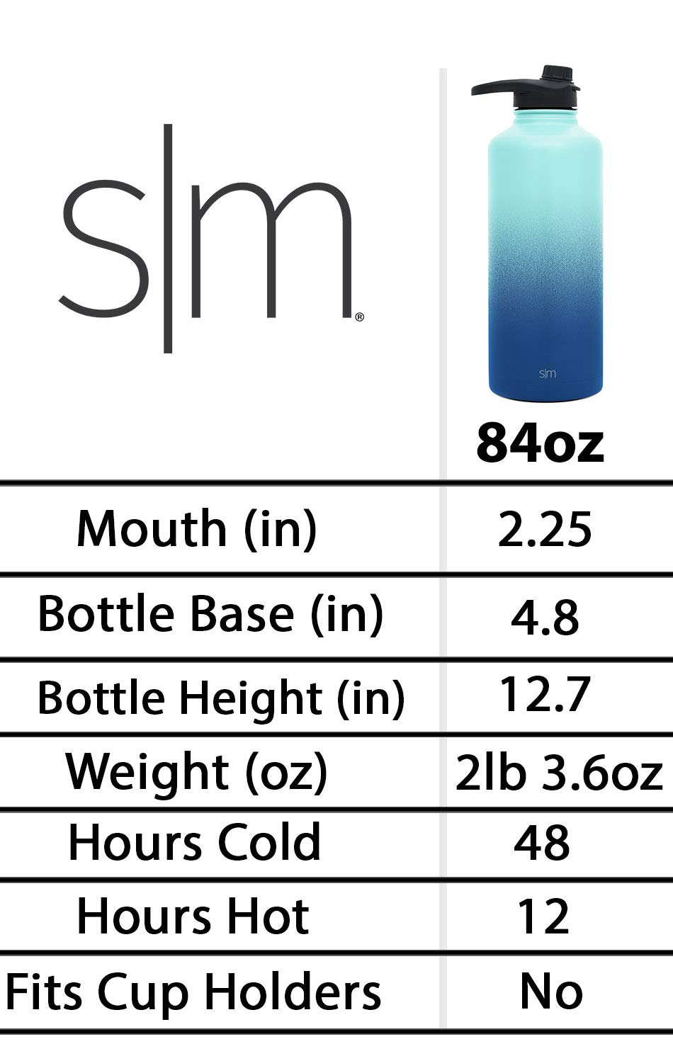 Simple Modern 84oz Summit Water Bottle - Stainless Steel Half Gallon Flask +2 Lids - Wide Mouth Double Wall Vacuum Insulated Black Leakproof - Midnight Black by Simple Modern (Image #3)