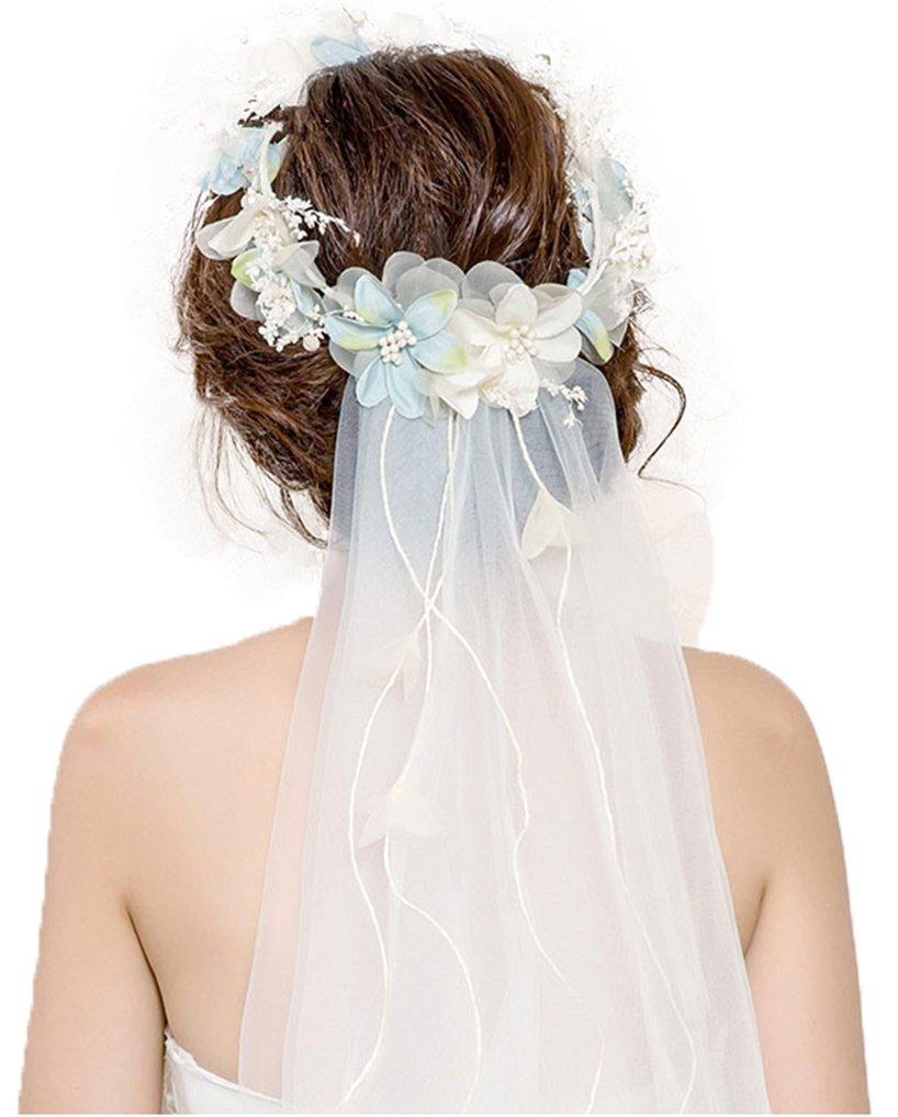 Veil Flower Headpiece,40'' Headbands2-TierTiaras WreathVeilby Ever Fairy