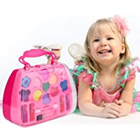 Junshion Princess Girl Pretend Play Toy Deluxe Makeup Palette Set NON TOXIC for Kids Toddlers