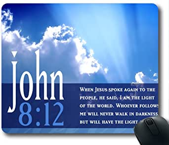 Inspirational Bible Verse Quotes John 8:12 Oblong Mouse Pad in 240mm200mm3mm VQ0711002